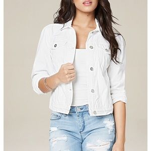 Bebe white jeans jacket with rhinestones